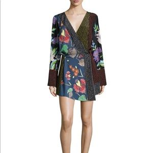 DVF mixed floral and dot silk dress